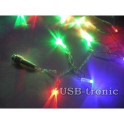 Уличная цветная гирлянда 10 метров Прозрачный кабель