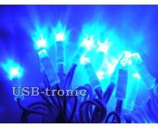 Синяя уличная гирлянда 10 метров 100 LED Белый кабель