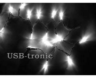 Уличная гирлянда 10 метров 100 белых светодиодов Белый кабель