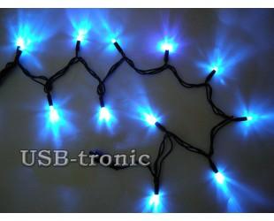Синяя уличная гирлянда 10 метров Neon Черный провод