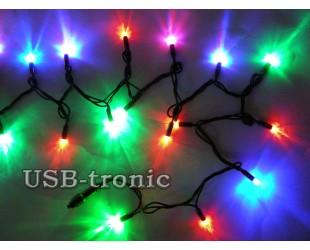 Уличная цветная гирлянда 20 метров Черный провод RGB 200 LED