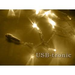 Уличная желтая гирлянда 10 метров Прозрачный кабель