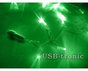 Уличная зеленая гирлянда 10 метров Прозрачный кабель
