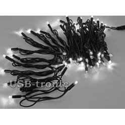 Уличная белая гирлянда 10 метров Черный кабель