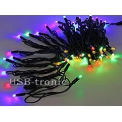 Уличная цветная гирлянда 10 метров Черный кабель