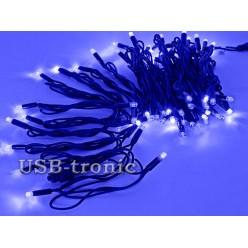 Уличная синяя гирлянда 10 метров Neon Черный кабель