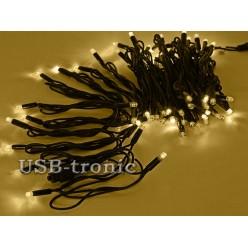Уличная желтая гирлянда 10 метров Черный кабель