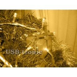 Гирлянда нить на елку 500 LED Желтые светодиоды Прозрачный провод 25 метров