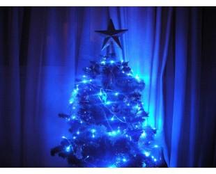 Светодиодная гирлянда нить на елку синие огни 100 LED