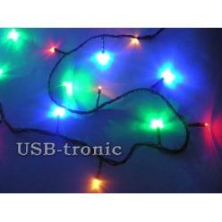 Гирлянда нить на елку светодиодная 25 метров 500 LED Цветные светодиоды Черный провод