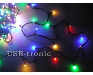 Новогодняя гирлянда на елку нить 25 метров 500 LED Цветные светодиоды Черный провод