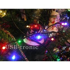 Гирлянда нить на елку 25 метров 500 LED Цветные светодиоды Matrix Черный провод