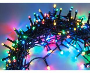 Новогодняя гирлянда на елку нить 48 метров 600 LED Цветные светодиоды Зеленый провод
