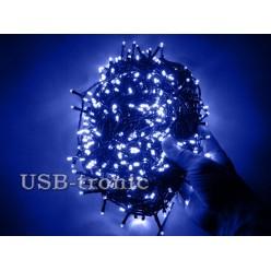 Гирлянда нить на елку светодиодная 48 метров 600 LED Синие светодиоды Зеленый провод