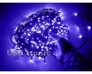 Новогодняя синяя гирлянда на елку нить 48 метров 600 LED Зеленый провод