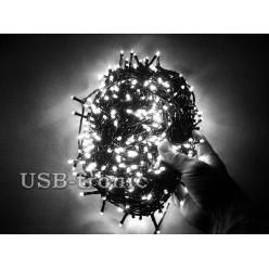 Гирлянда нить на елку светодиодная 48 метров 600 LED Белые светодиоды Зеленый провод