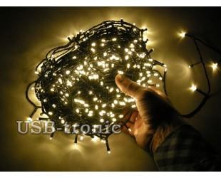 Новогодняя желтая гирлянда на елку нить 48 метров 600 LED Зеленый провод