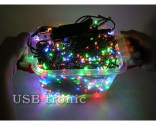 Новогодняя гирлянда нить уличная 40 метров 500 LED Цветные светодиоды Зеленый провод