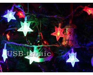 Многоцветная гирлянда  Светодиодные звезды 3 см 20 шт нить 3 метра