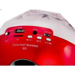 Портативная колонка Bluetooth Color Ball Speaker Q8 c mp3 Цветомузыка Red