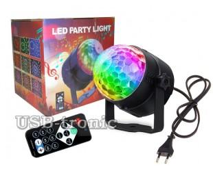 Светодиодный мини диско шар Led Party Light 3 RGB цвета с микрофоном и пультом