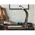 Настольная светодиодная лампа Business Desk Lamp с календарем термометром и часами  из коричневой кожи