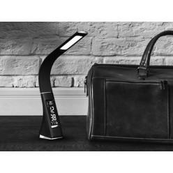 Настольная лампа Business Desk Lamp с календарем термометром и часами из черной кожи