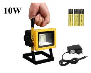 Переносной светодиодный прожектор фонарь 10 Вт 3 литиевыx аккумулятора 18650