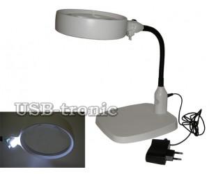 Большая 10 кратная настольная лупа с подсветкой NO 7764 питание от сети 220 Вольт линза 120 мм