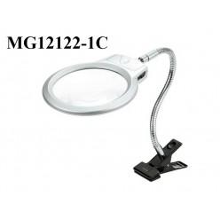Настольная лупа с подсветкой на прищепке MG15122-1c линза 130 мм Кратность x2/х5