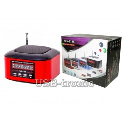 Портативная колонка WSTER WS-3188 с MP3 плеером Красная