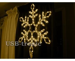 Светодиодная фигура Желтая снежинка 57 см Winner Light Дюралайт 10мм