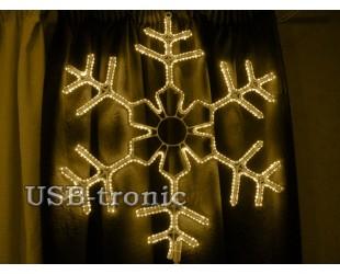 Светодиодная фигура Желтая снежинка 60 см Winner Light Дюралайт 10мм