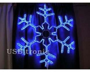 Светодиодная фигура Синяя снежинка 60 см Winner Light Дюралайт 10мм
