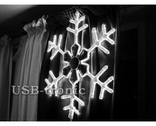 Светодиодная фигура Белая снежинка 60 см Winner Light Дюралайт 10мм