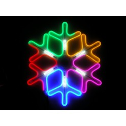 Световая фигура Цветная светодиодная снежинка 60 см