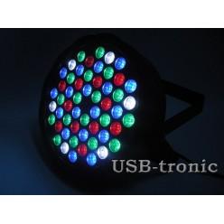 Стробоскоп цветной программируемый 54 LED с микрофоном 4 цвета RGBW