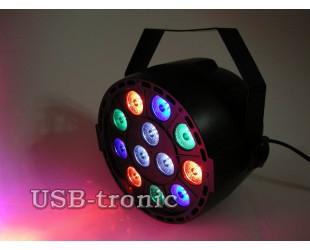 Цветной светодиодный стробоскоп 12 LED Flat Par Light  для дискотеки