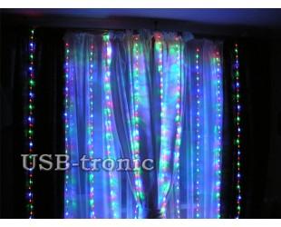 Новогодняя гирлянда на стену Цветной дождь 3х3 с эффектом водопада 25 нитей