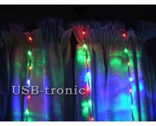 """Светодиодная гирлянда водопад на окно """"Цветной дождь"""" Размер гирлянды 1,5 х 1,5 метра"""