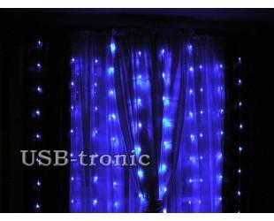 Новогодняя гирлянда на окна Синий дождь 3х3 с эффектом водопада 25 нитей
