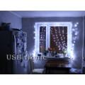 Гирлянда Занавес дождь 2,0 х 2,0 Белый свет Прозрачные нитки
