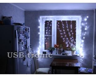 Светодиодная гирлянда на окно Белый занавес дождь 3,0 х 2,0 Прозрачные нитки