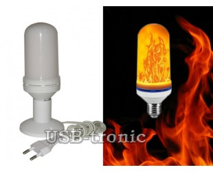 """Светодиодная лампа-светильник """"Мерцающий огонь"""" на подставке с проводом для сети 220 Вольт"""