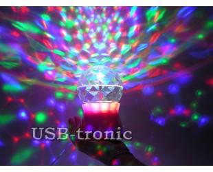 "Мини диско-шар цветомузыка для дома ""Сфера"" на подставке"